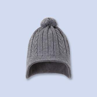 fb399130913 Cable knit earflap hat - Boy - GRAVEL GREY - Jacadi Paris