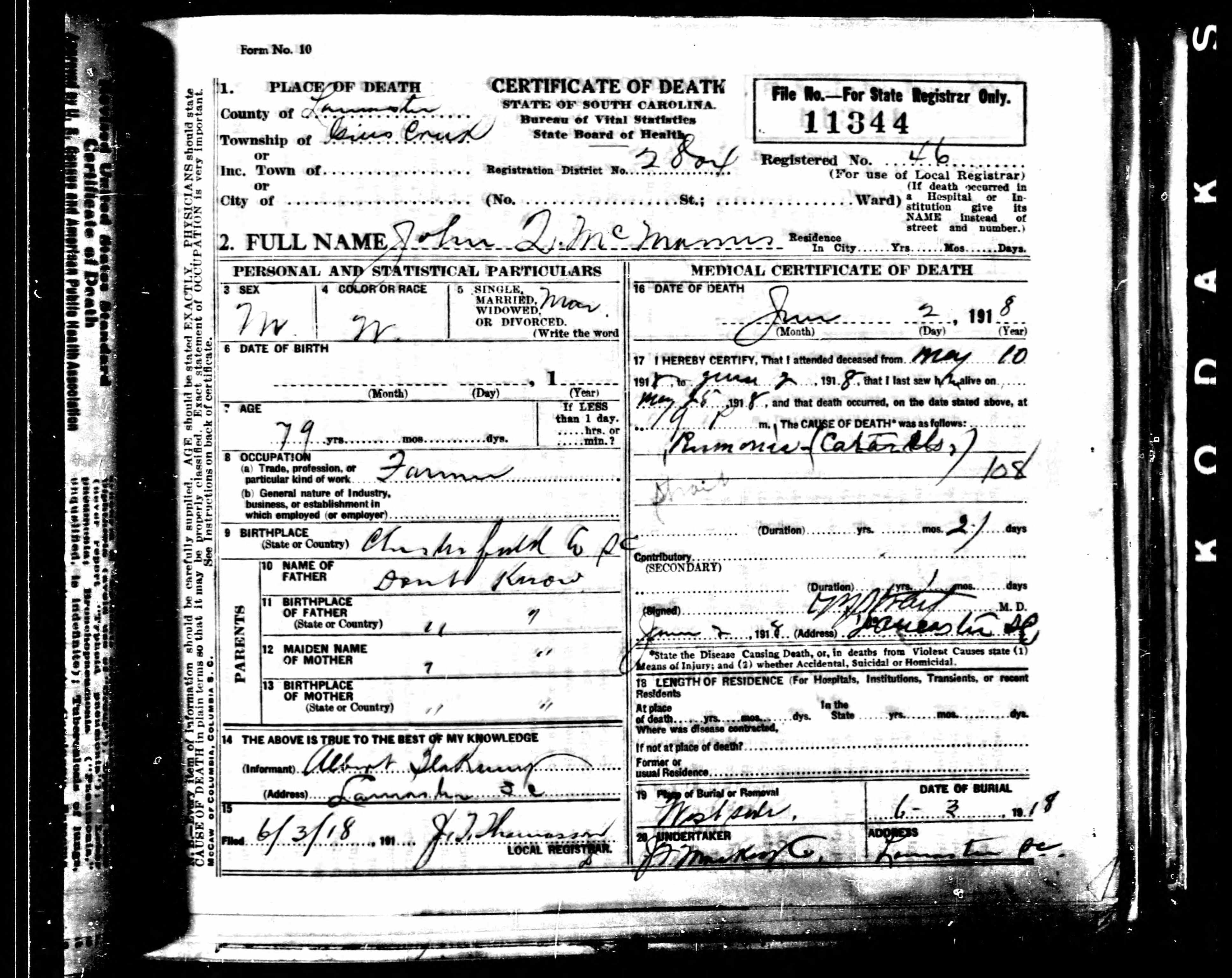 John Q Mcmanus Discovered In South Carolina Death Records 1821