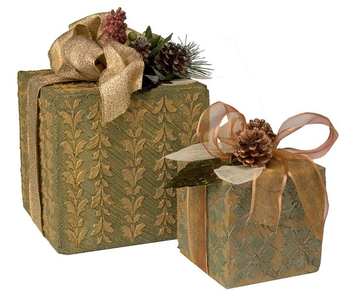 Gift Box Christmas Decorations Textured Holiday Gift Box Decor  Box