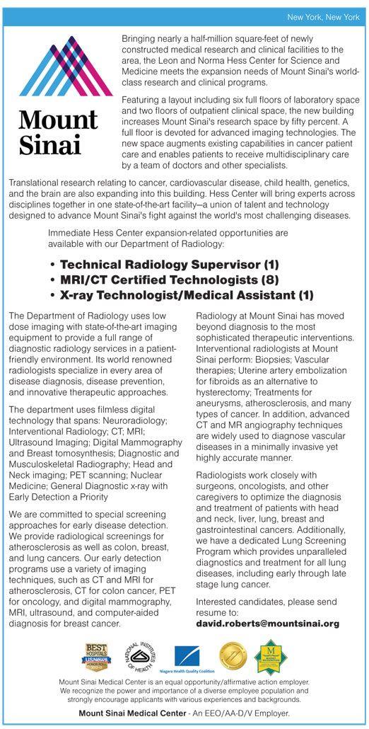 Technical Radiology Supervisor (1) \u2022 MRI/CT Certified Technologists