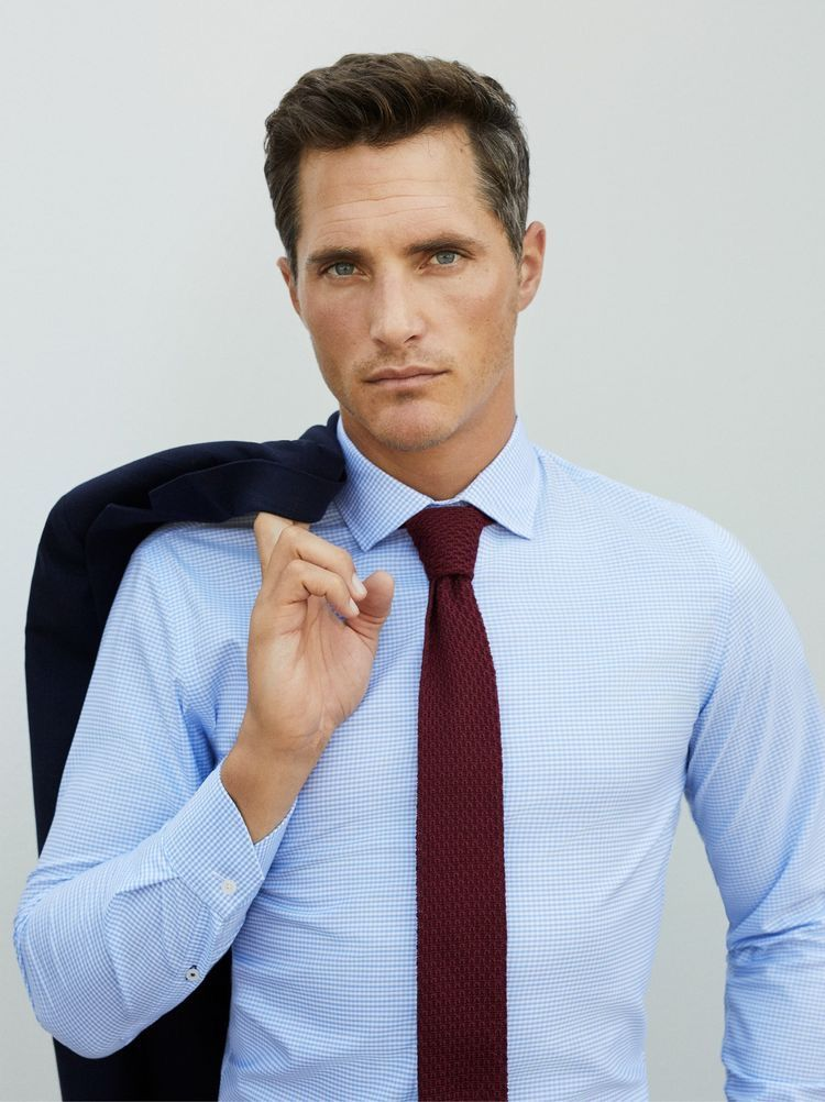 mangoman with a business combo look featuring a light blue shirt  @mangoman with a business combo look featuring a light blue shirt maroon knit tie navy shirt tie menswear gentlemen classy menstyle mensfashion
