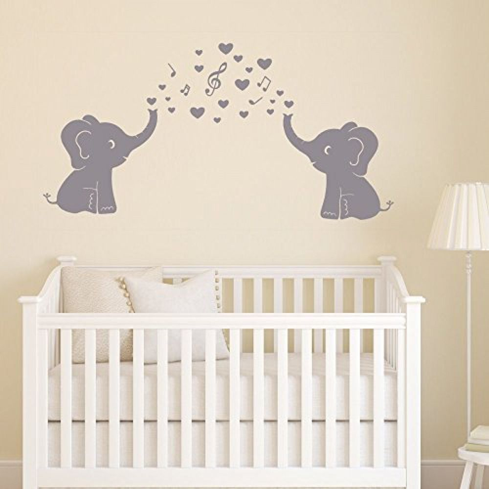 Cute elephants wall stickers bubbles music notes wall art for baby