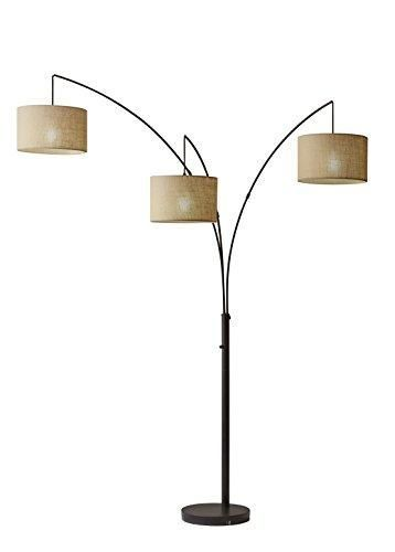 "3 Light Floor Lamp Cool Adesso 423826 Trinity 82"" Arc 3Light Floor Lamp  Smart Switch Review"
