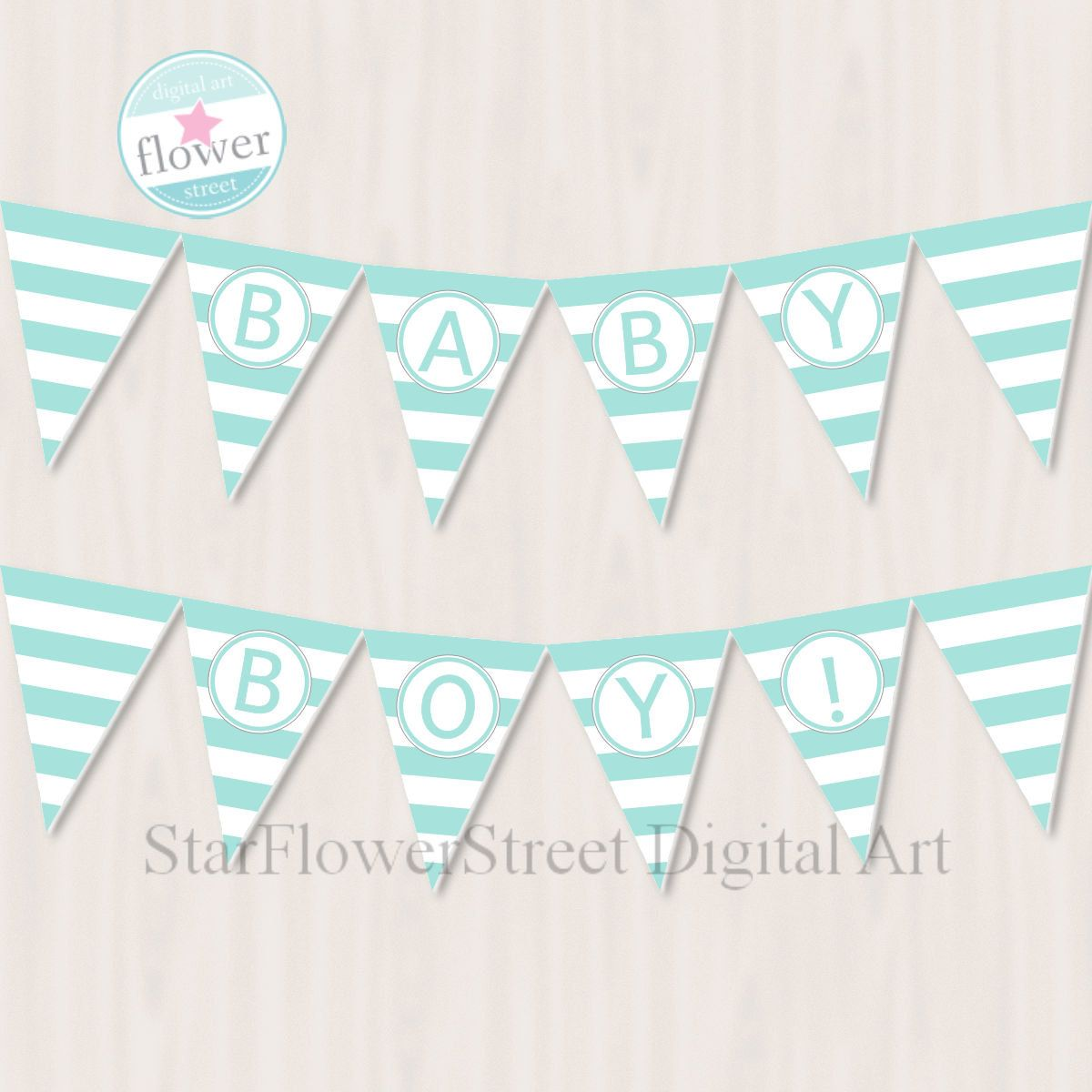 baby shower banner baby boy printable party flags turquoise party