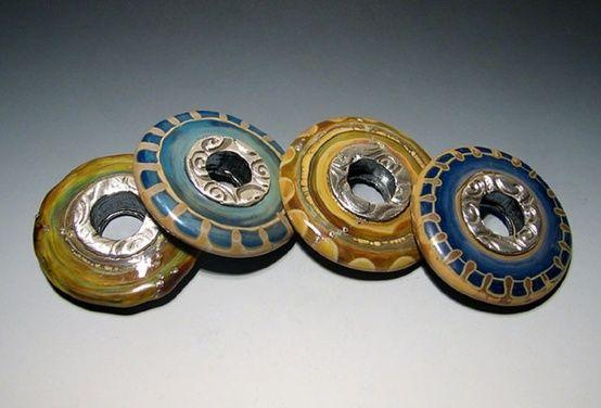 Kim Neely silverlined lampwork discs