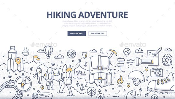 5a6653b5e8 Doodle design style concept of hiking