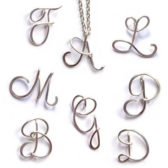 Personalised Initial Necklace | Sterling Silver Wire Letter Necklace ...