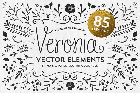 Loving these... Veronia Elements by MakeMediaCo. on Creative Market The font is cute too