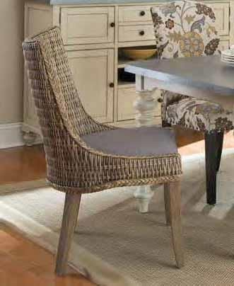 Set Of 2 Levine Collection Natural Woven Seat And Back With Grey Wood Legs  Dining Chairs