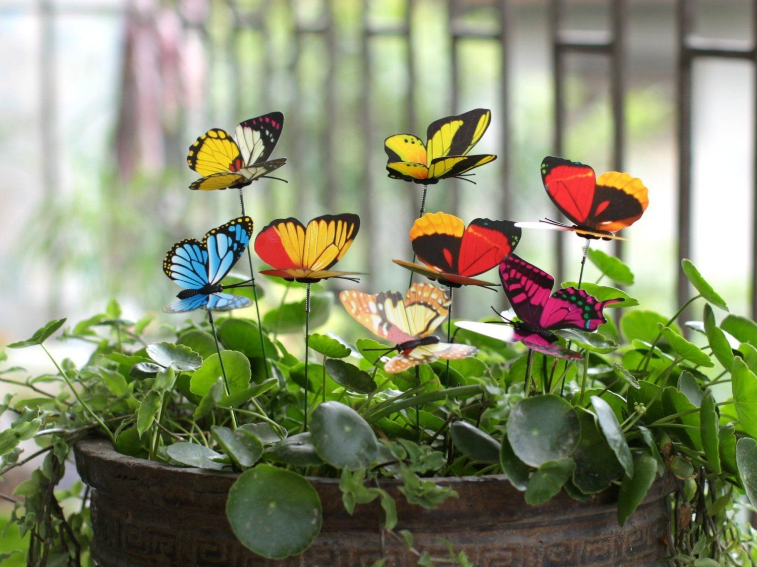 Beetrie 25pcs Butterfly Stakes Outdoor Yard Garden Decor Butterflies ...