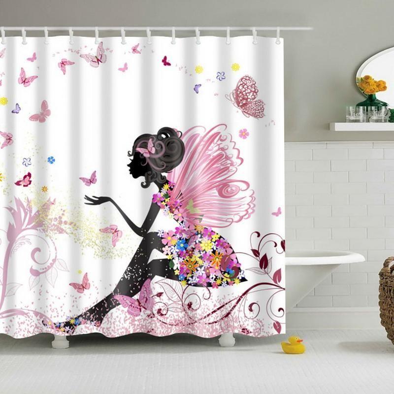 Floral Butterfly Beauty Girl Black Shadow Shower Curtain Set Waterproof Fabric