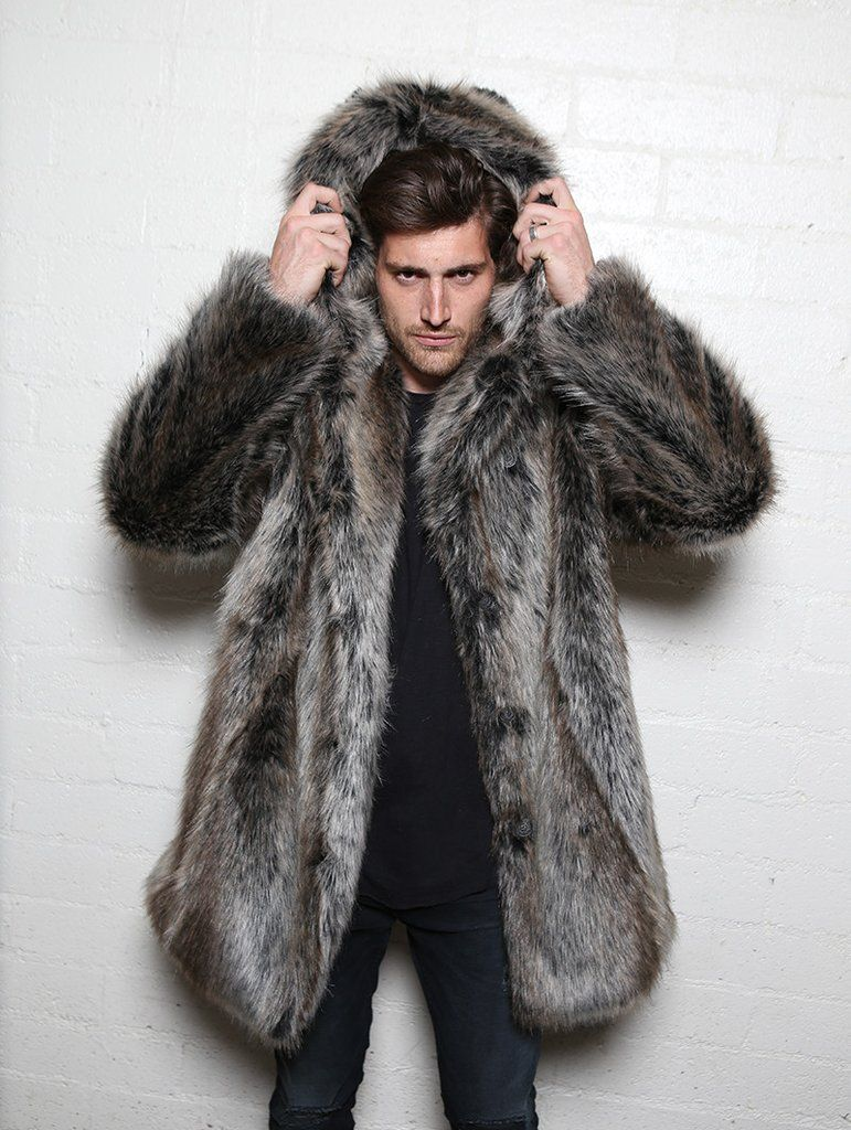 Classic Grey Wolf Faux Fur Coat | Team player, Fur and Mens winter ...