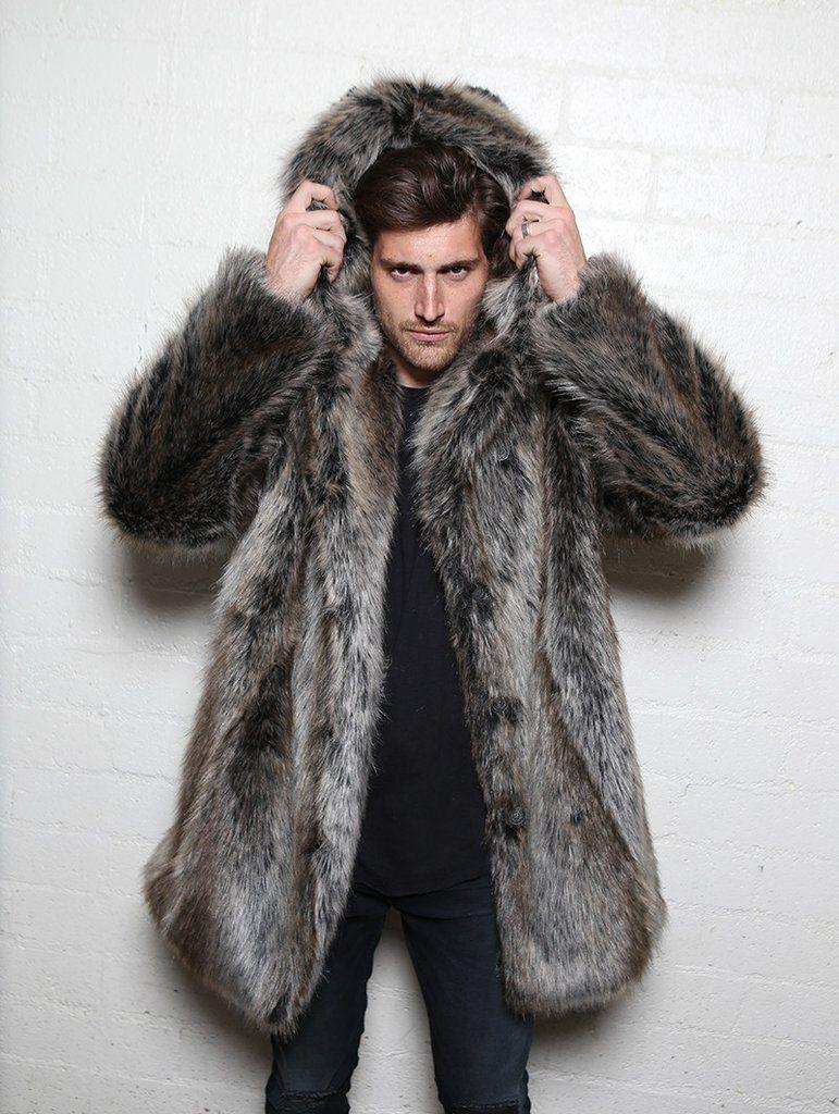 Wolf Fur Coat >> Classic Grey Wolf Faux Fur Coat In 2019 Jackets To Wear Mens Fur