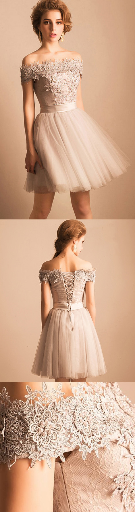 homecoming dress offtheshoulder lace short prom dress party