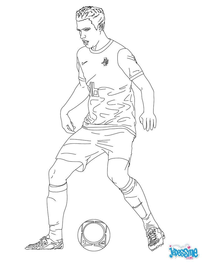 Coloriage du joueur de foot Robin Van Persie € imprimer gratuitement ou colorier en ligne