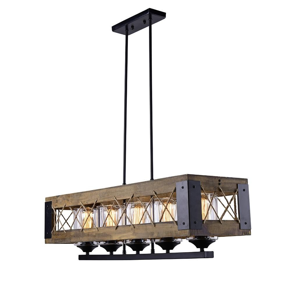 Lnc 5 Light Black Wood Chandelier With Clear Glass Shade A03145 Kitchen Island Lighting Pendant Island Lighting Dining Room Lighting