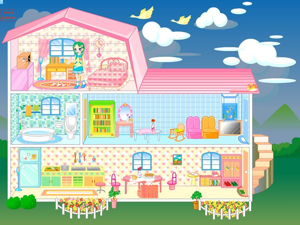 Nice Doll Room Decoration Games Part - 8: Decorate Big Doll House Games