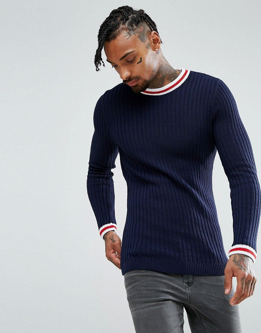 ASOS Muscle Fit Ribbed Sweater With Tipping Detail In Navy - Navy ...