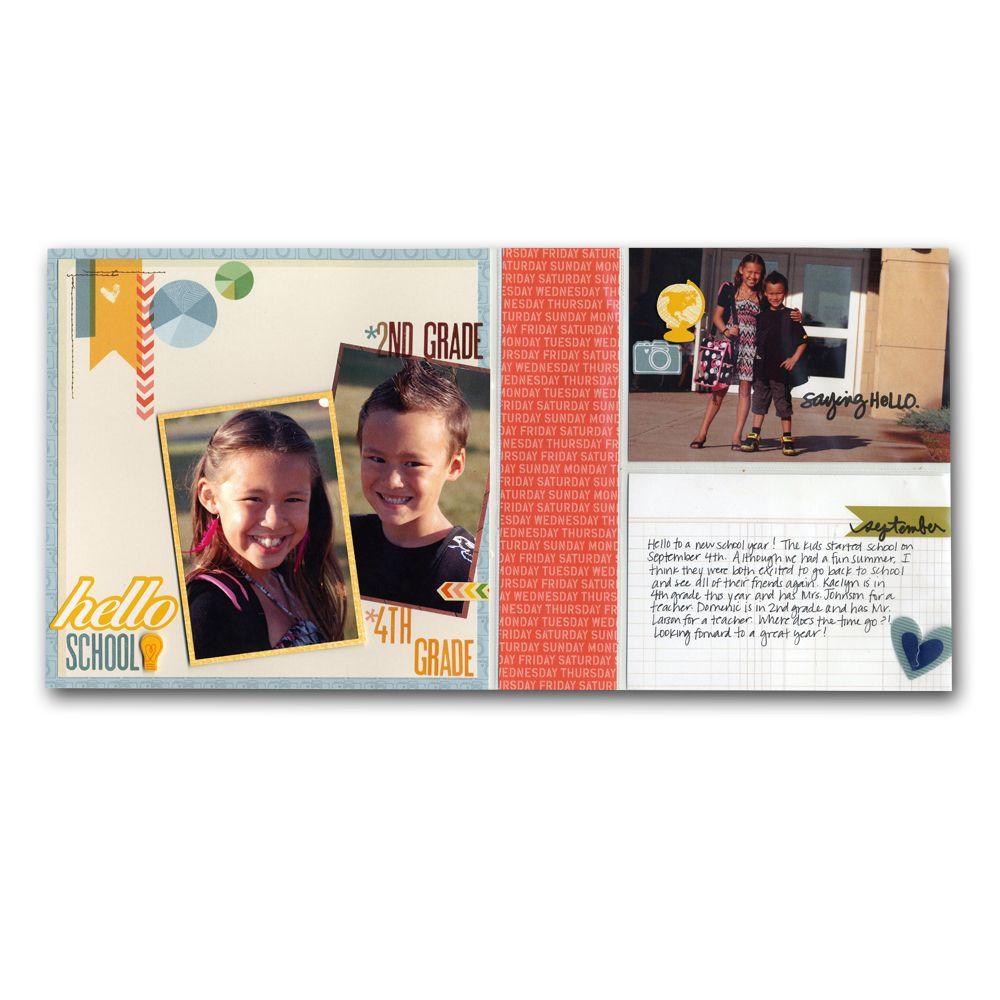 How to scrapbook 8x8 layouts - School Kids 8x8 Layouts