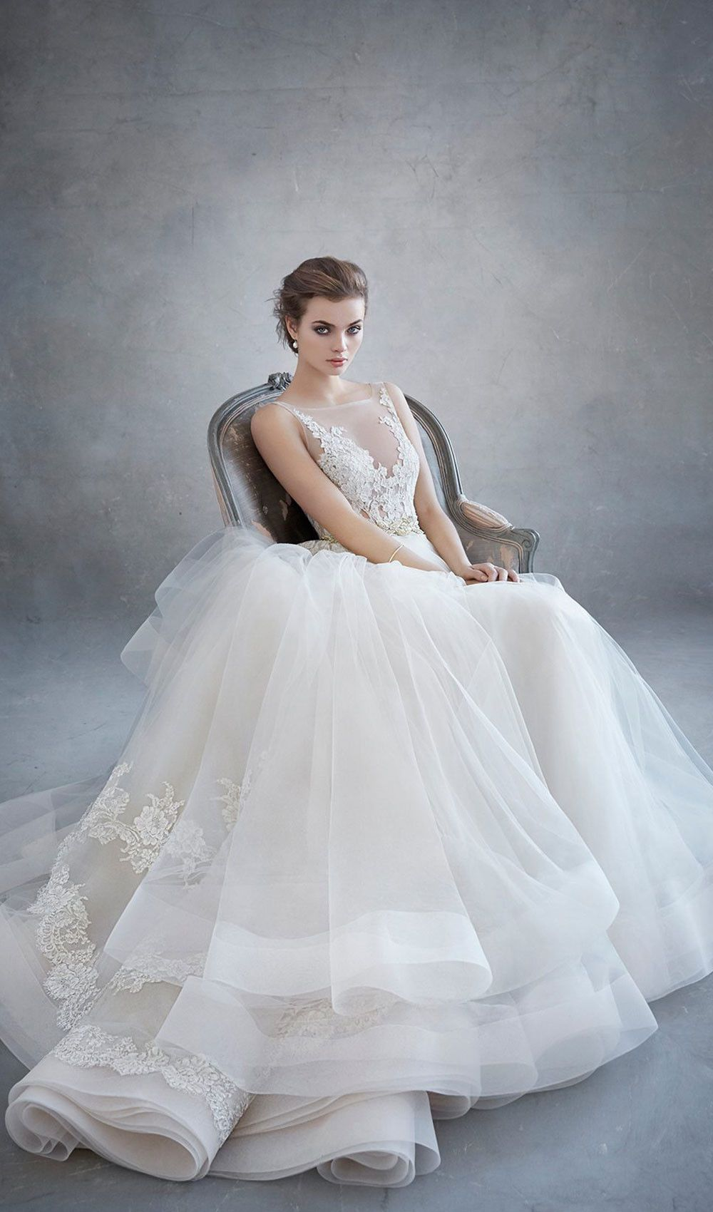Champagne and ivory wedding dress  Try this champagne tulle wedding dress ivorygold alencon lace