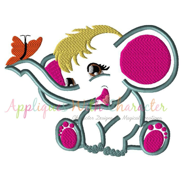 Elephant Applique Design, Elephant Embroidery Design, Girls applique ...