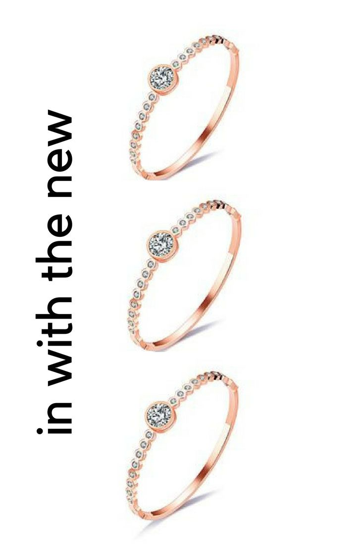 Elegant womenus bangle bracelet with cz zircon rose gold color