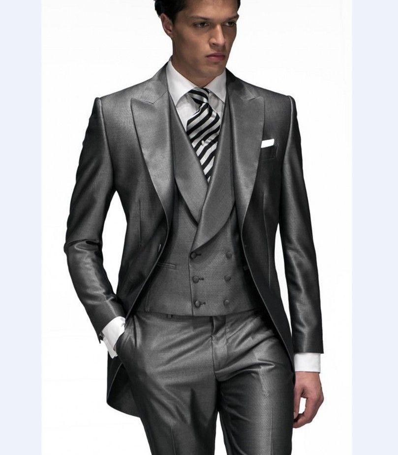 Morning Style Groomsmen Custom Made Groom Tuxedos One Button Men ...