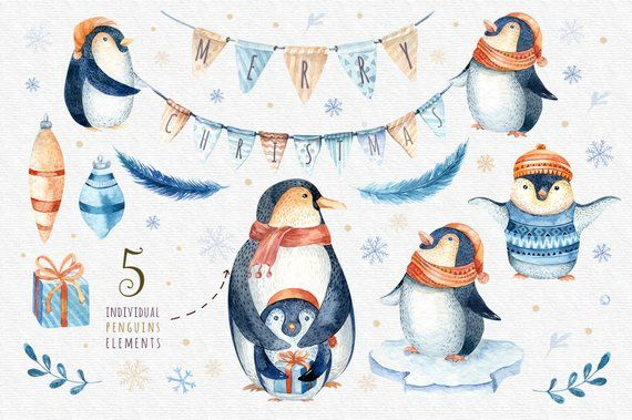 watercolor christmas penguin clipart merry christmas clip art new year winter watercolorholly j