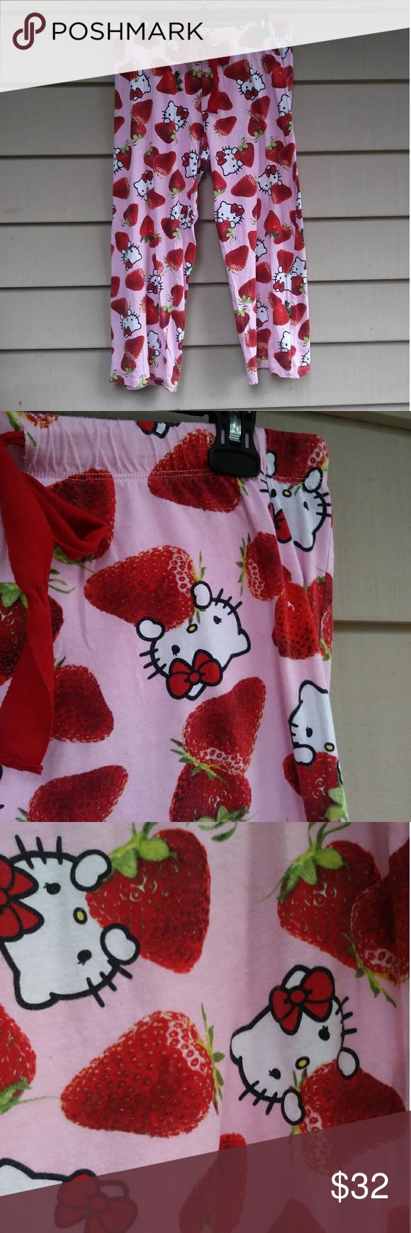 451ed80ed HELLO KITTY Strawberry pajama pants/capris kawaii Great shape! 17