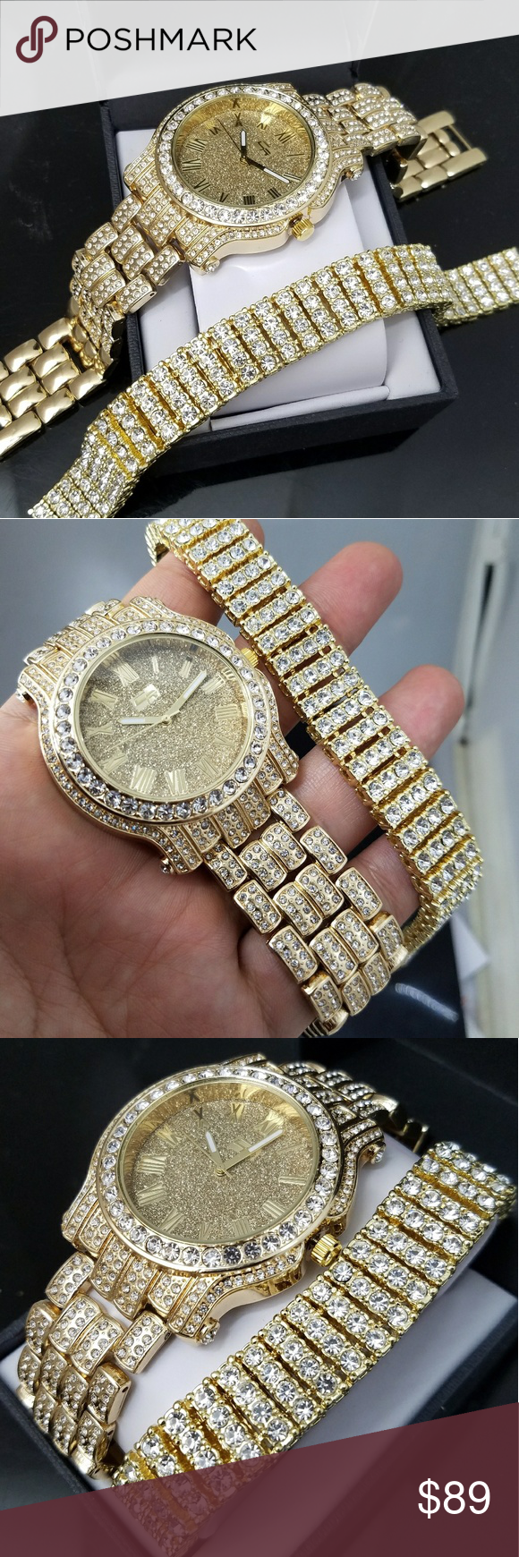 Gold plated iced out watch and bracelet combo set boutique my posh