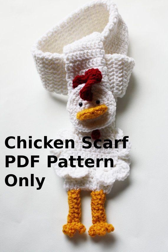 Instant download crochet chicken scarf PDF PATTERN by missdee1 ...