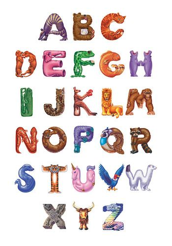 4 letter animals animal alphabet by donna kern fanciful canvas of animal 20099