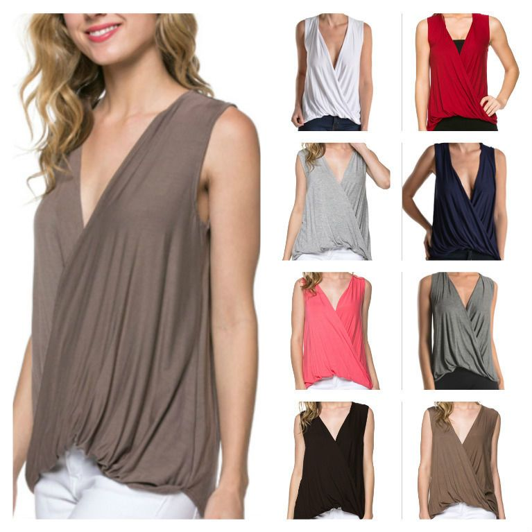 USA Women Casual Sleeveless Deep Front Wrap Top Solid Draped Plunge Neck Blouse #YFH #Blouse #Casual