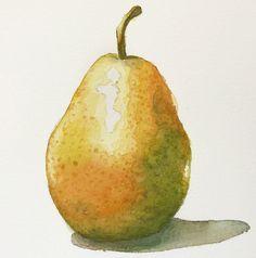 final-watercolor-pear-painting #watercolorarts