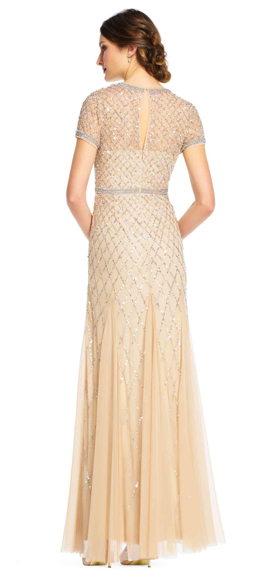 Cap Sleeve Beaded Gown | Adrianna papell and Gowns