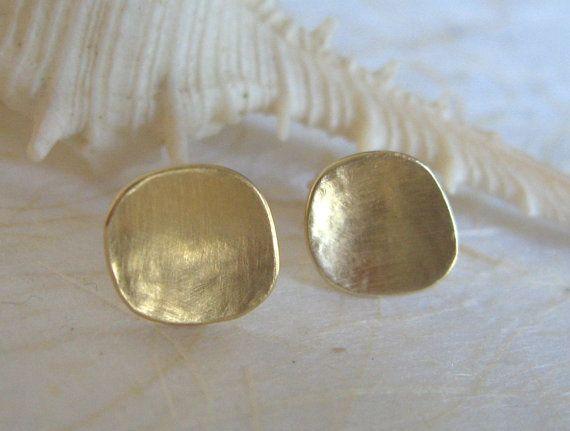 14k Gold Studs Earrings Stud Hammered By Adiyesod 135 00