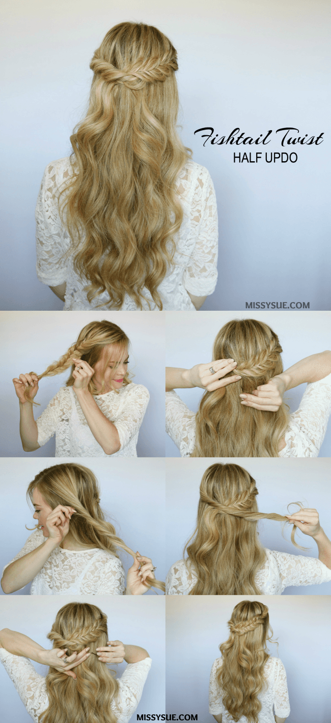 Half Up Fishtail Twist Hair Tutorials Pinterest Hair