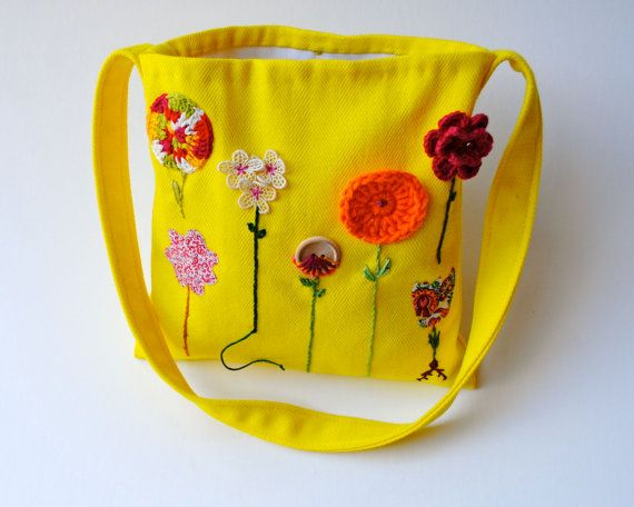 Organic Kids Messenger Bag - Embroidered Garden Flowers Cross Body Purse in Lemon Yellow (Ready to Ship)