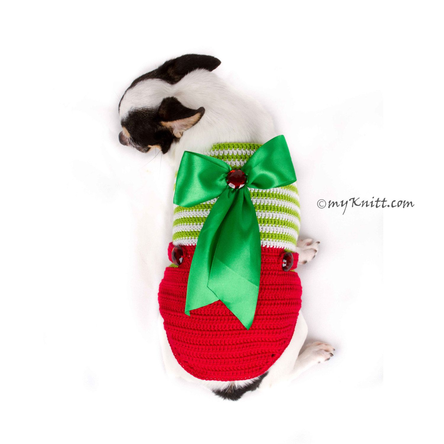 Overalls Cute Christmas Dog Clothes XXS, Handmade Knitted with Big ...