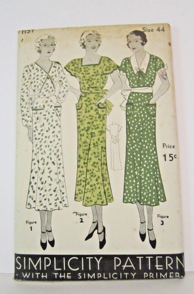 1930\'s pattern women\'s dress simplicity #1151 size 44 (44\