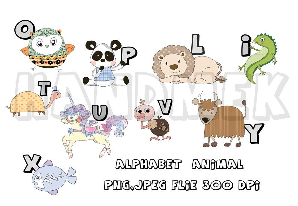 Alphabet Clipart - Animal Clipart A-Z, instant download, PNG,JPEG ...