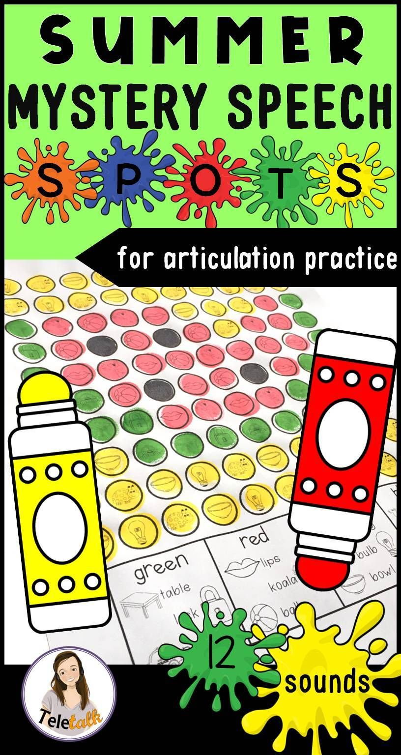 Summer Mystery Speech Spots Articulation Activity With Google Drive Version Speech Therapy Activities Articulation Activities Articulation