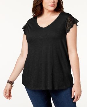 be2691fafc9403 Style & Co Plus Size Lace-Sleeve Top, Created for Macy's - Black 1X ...