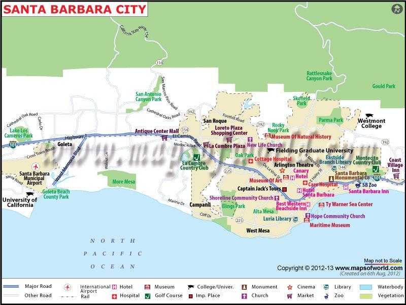 Santa Barbara City Map  Maps Mostly Old  Pinterest