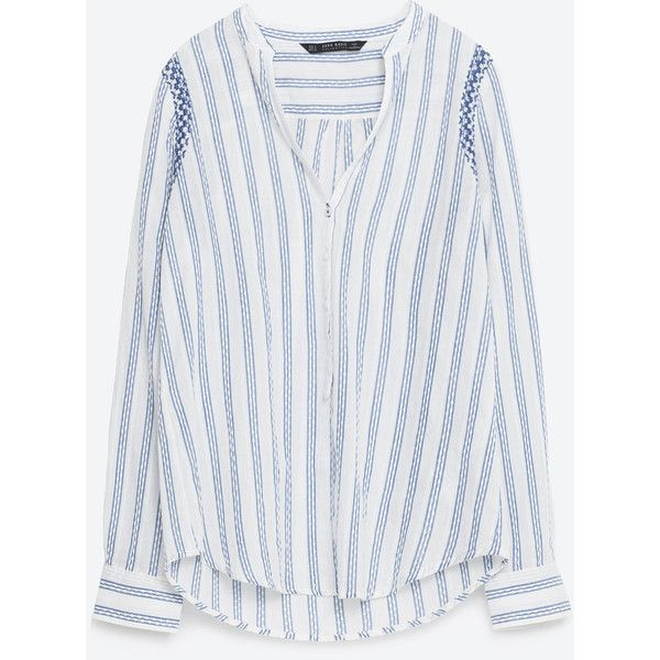 2545c6cde585a Zara Embroidered Striped Shirt (715 EGP) ❤ liked on Polyvore featuring tops