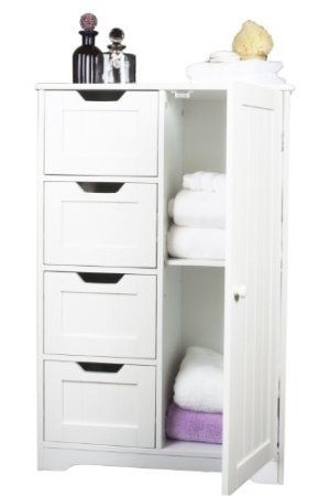 white wooden cabinet with four drawers and cupboard bathroom bedroom anyroom amazon - Bathroom Cabinets 30cm Wide