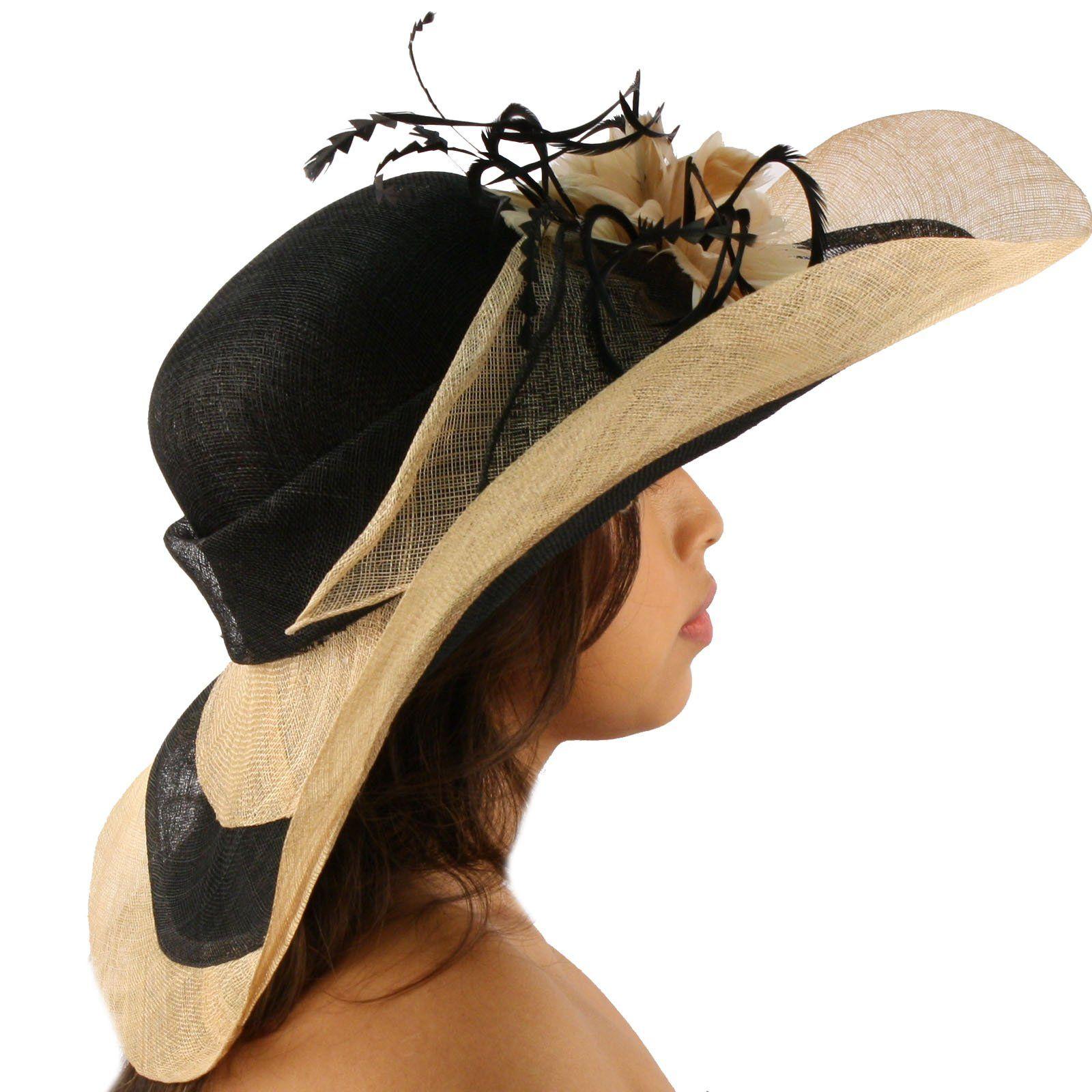Summer Kentucky Derby Wide Brim Layer Floppy Flower Feathers Hat Beige Black At Amazon Women S Clothing Store Feather Hat Amazon Women Hats