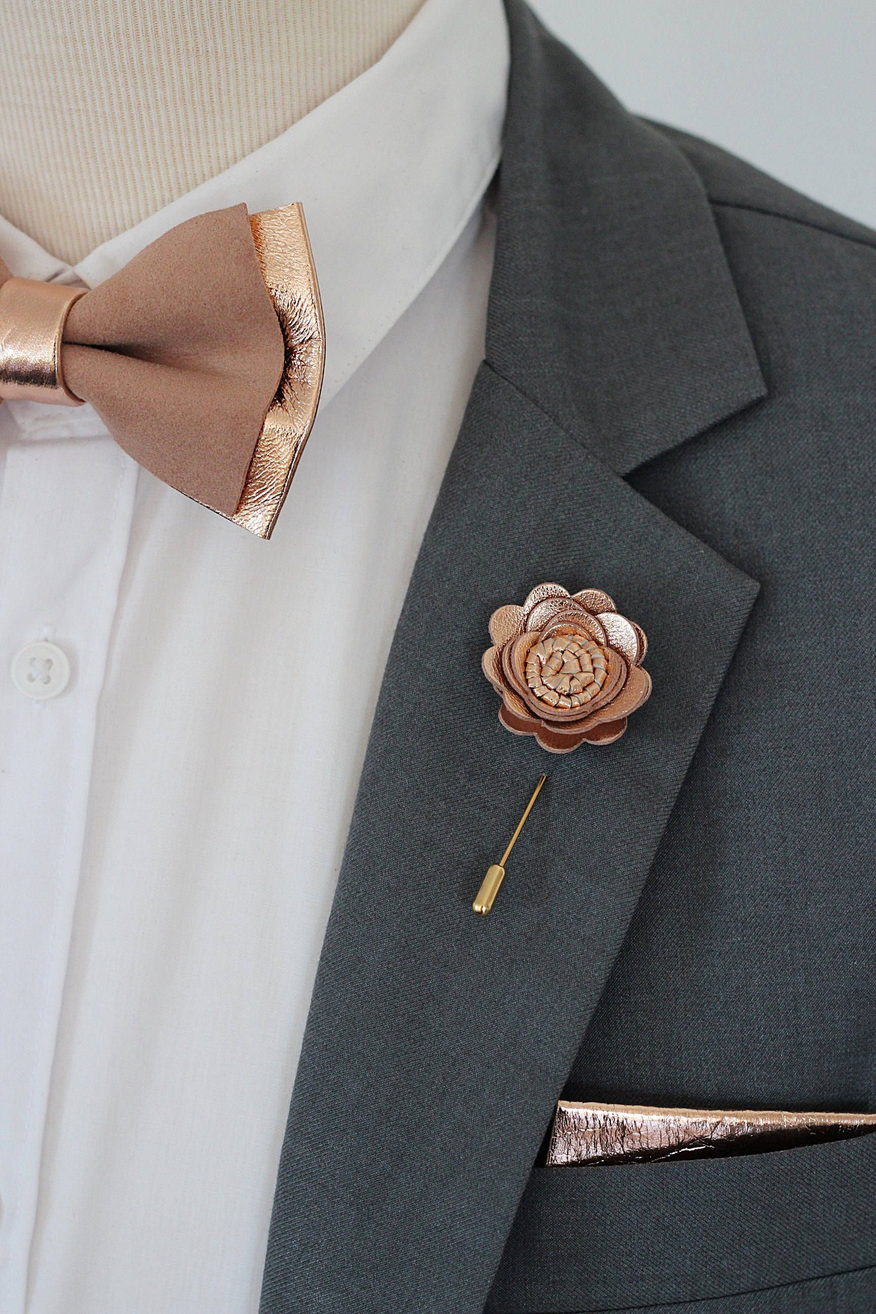 Rose Gold flower lapel pin,bow tie,rose gold wedding ...