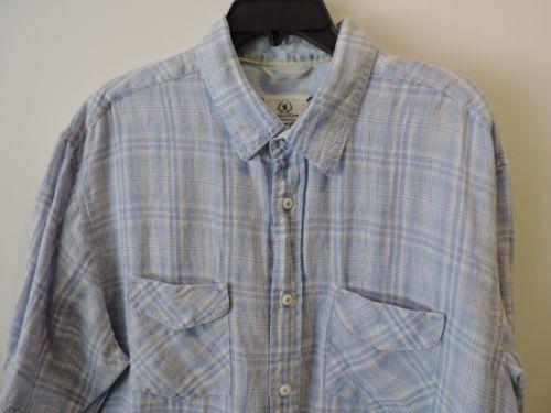 Bugatchi Uomo Designer White Label Blue Plaid 100% Linen S/S Shirt SZ XL Mint (Pre-Owned)
