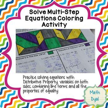 Solving Multistep Inequalities Color Worksheet